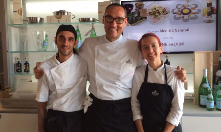 Simone Salvini between Marco Spanghero of Berberè and cook Federica Scolta, now at Dattilo but for a long time working beside Niko Romito. Their joined lesson, yesterday at Identità Expo, was splendid: a raw-diet dish with fermented nuts, made with Alce Nero's organic products