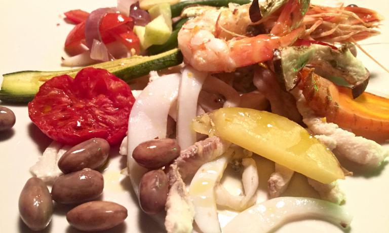 Seafood salad at Buonumore: verdesca, horse mackerel, ray, sparnocchia...