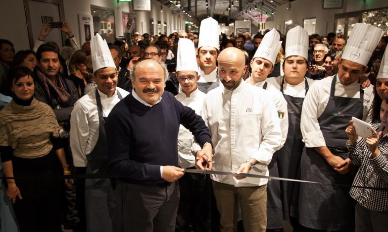 Oscar Farinetti and Niko Romito at the ribbon cutting ceremony: Spazio – the third in the series, this one is inside Eataly in Rome – is now open to the public (photos by Claudia Del Bianco)