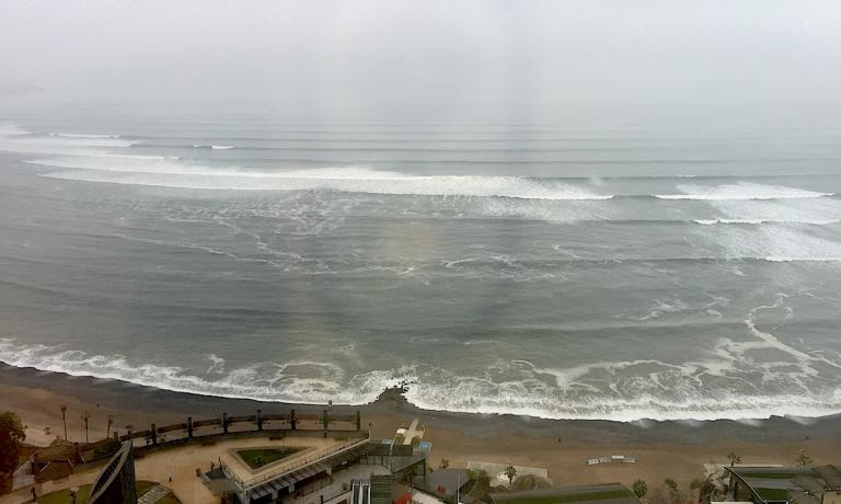 The Pacific Ocean seen from Lima, from the window of one of the rooms at the JW Marriott in Miraflores