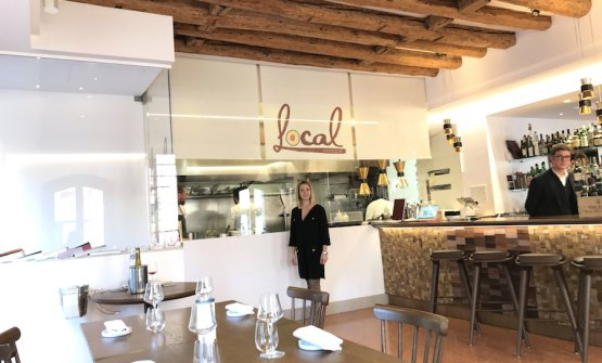 Benedetta and Luca Fullin in the main dining room inside their restaurant Local in Venice