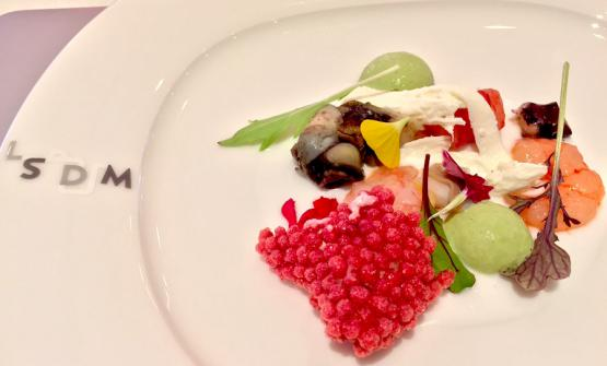 Seafood salad by Paolo Casagrande of Lasarte in Barcelona