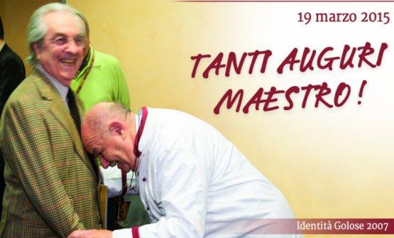 Identità Milano 2007:Gualtiero Marchesireceives a tribute from Pierre Troisgros, an untouchable giant of French cuisine.Identità Golosefound this photo to celebrate the Maestro's 85th birthday, in 2015