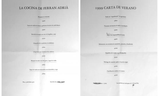 Two menus atelBulli, from 1999: prices were still in Pesetas, of course.Oldanikeeps them as a treasure