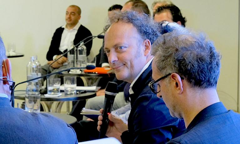 Moreno Cedroni during the meeting in June 2013 in Rome, between a dozen Italian chefs and the Minister of Culture at the time, Massimo Bray