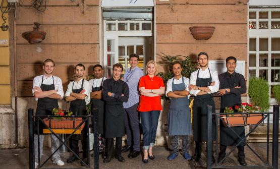 Chinappi's team in Rome. The balance between patron Stefano Chinappi and chef Federico Delmonte creates a spectacular mix