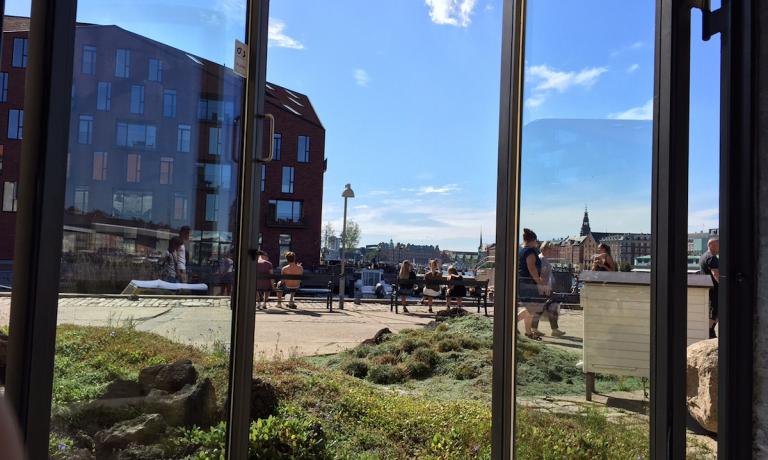 A picture of the outdoor space surrounding Noma, René Redzepi's super restaurant in Strangade 93 in Copenhagen. The photo was taken on Saturday 27th August, a beautiful sunny day