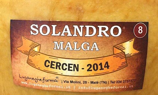 The 8th auctioned wheel, made at Malga Cercen in 2014 in Val di Rabbi. Almost 7 kilos of raw-milk semi-fat cheese