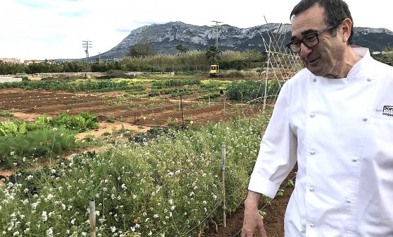 Pep Romany, patron chef at Pont Sec in Denia, Spain, in front of the kitchen garden he started two years ago
