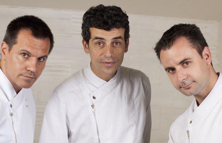 Before opening Disfrutar and Compartir, Oriol Castro(on the left, with his partnersCasañas, centre,andXatruch, right) worked for 15 at Ferran and Albert Adrià's elBulli, from 1996 till the restaurant closed in 2011