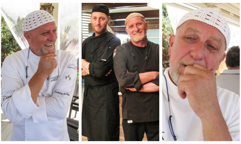 Marcello Rossi, the Pirate, is a chef with a long career, a real seafood expert. He directs three kitchens in San Vincenzo (Livorno), at Nautica Beach, Mistral and most of all at Mariva. In the latter case, with sous chef Alessandro Paonessa (in the photo with him in the middle). A story worth telling