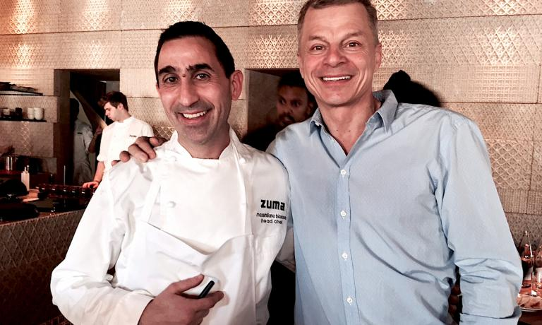 Rainer Becker, originally from Germany with lots of experience in Australia and Japan before arriving in London in 2000 and opening two years later the first of ten Zuma restaurants, one of which has just opened in Rome, offering Japanese cuisine. In the photo, Rainer with Massimiliano Blasone, the chef who'll the Roman establishment