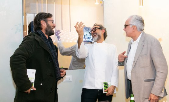 Carlo Cracco, Massimo Bottura and Alain Ducasse laughing