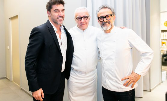 Ducasse and Bottura with Almir Ambeskovic, Head of The Fork in Italy, the Netherlands, Sweden and Denmark