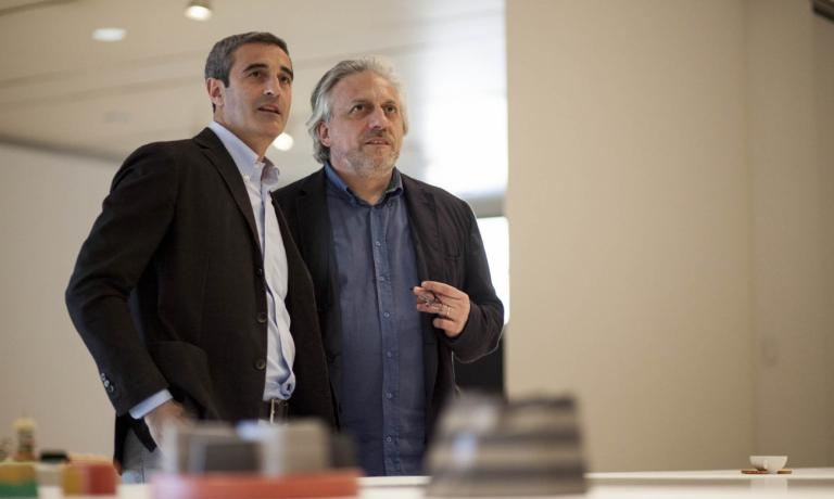Davide Scabin, chef del ristorante Combal.zero , con Riccardo Felicetti