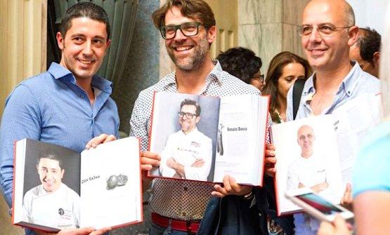 Three masters of Italian pizza at the presentation of 100 chef x 10 anni, i cento chef che hanno cambiato la cucina italiana in Milan's Stazione Centrale. Left to right, Ciro Salvo,Renato BoscoandFranco Pepe