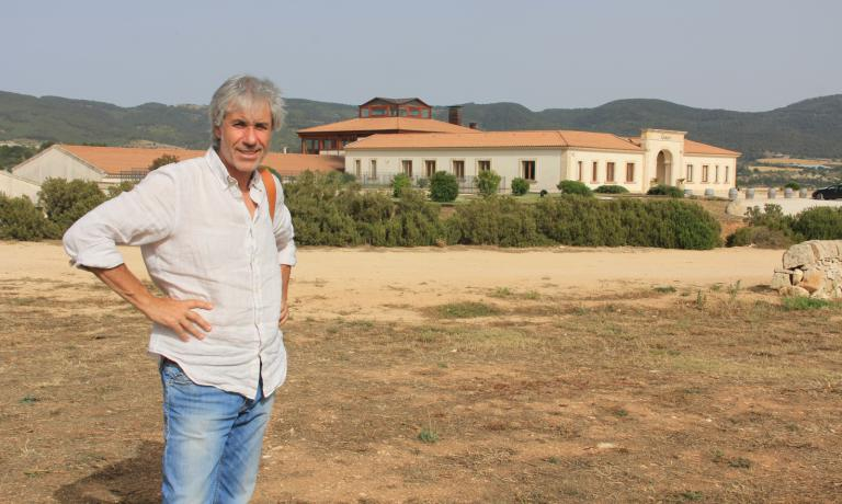 Oenologist Salvo Foti in front of Gulfi, the winery he directs together with founder and owner Vito Catania