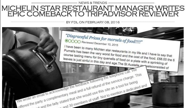 This is how finedininglovers.com represented the tit for tat between the chef at Purnell's in Birmingham and an anonymous user, who had criticised the restaurant on Tripadvisor