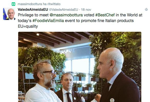 João Vale de Almeida's tweet:«It was a honour», said the ambassador of the European Union at the United Nations,«to meet Massimo Bottura, the best chef in the world today at the #FoodieViaEmilia event promoting the great Italian products. EU=quality»
