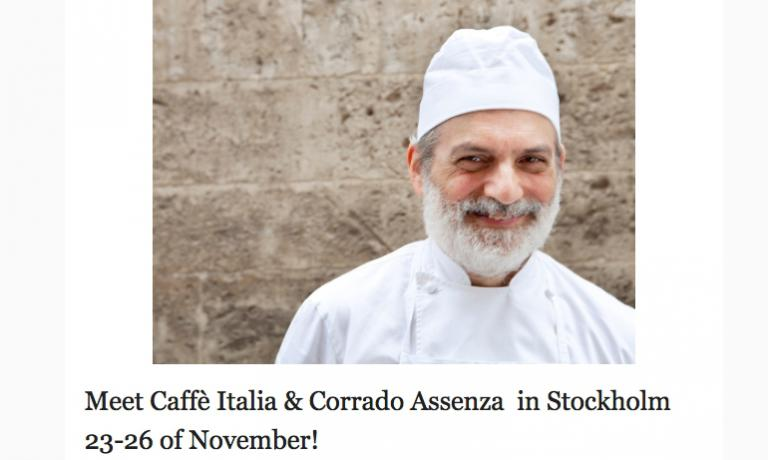 Pastry chef Corrado Assenzais leaving for Sweden. We'll be there