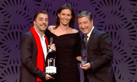 Camilla Lunelli from Cantine Ferrari gives the Hospitality of the year award 2017to Jordi and Joan Roca of Celler de Can Roca in Gerona, Spain