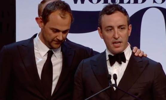 The emotional reaction of Daniel Hummand Will Guidara, chef and maitre atEleven Madison Park, New York, after getting to the first place in the 2017 World's 50Best.Massimo Bottura's Osteria Francescanaleaves the sceptre (2nd place). Among the 50 Best, PiazzaDuomo(15th, +2 compared to 2016),Le Calandre(29th, +10),Reale-Casadonna(43rd, as many as 41 places up compared to 2016) all climb up the list