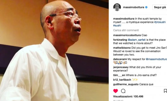 """Massimo Botturaat Jiro's, on the 20th July 2017. He writes on Instagram: """"On my own in the temple of sushi. A mystic experience"""". In the picture,Yoshikazu Ono, son and designated heir of Sukiyabashi Jiro"""