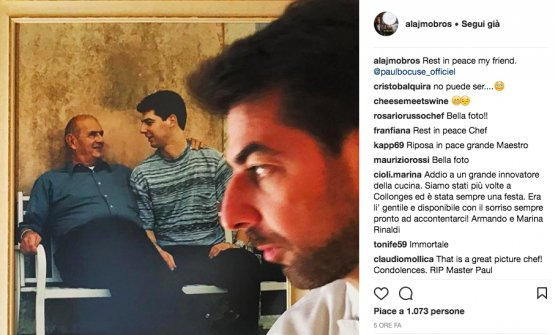 Massimiliano Alajmo's farewell on Instagram. Bocuse visited Le Calandre only a few weeks ago
