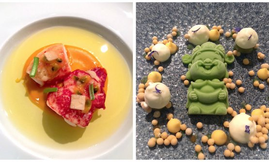 Two dishes from Tim Raue: Lobster, carrot and coriander and the dessert, Passion fruit, Tonka beans and cucumber