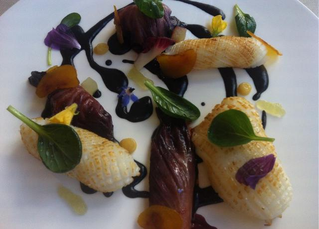 Steamed cuttlefish with radicchio, apple and oil, lemon and bottarga