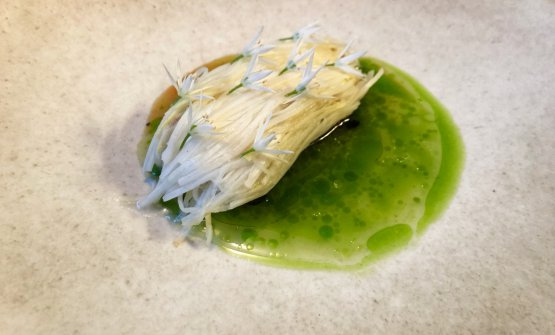 Marinated monkfish in barley miso with spaghetti of white asparagus