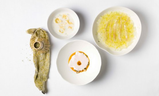 Unexpected fish soup by Yannick Alléno and Martino Ruggieri, respectively chef and chef adjoint at Pavillon Ledoyen in Paris. The French and Italian chefs will hold two lessons at Identità Milano, 3rd-5th March 2018: Auditorium and Identità di Pasta
