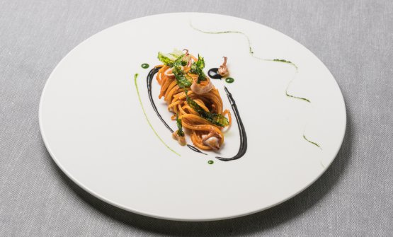 Spaghetti, octopus, bergamot, jalapeno