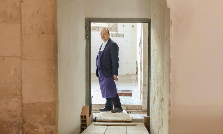 Ciccio Sultano on the building site of his new location, I Banchi, which will open in June inside Palazzo di Quattro, in Via dell�Orfanotrofio, also in Ragusa Ibla