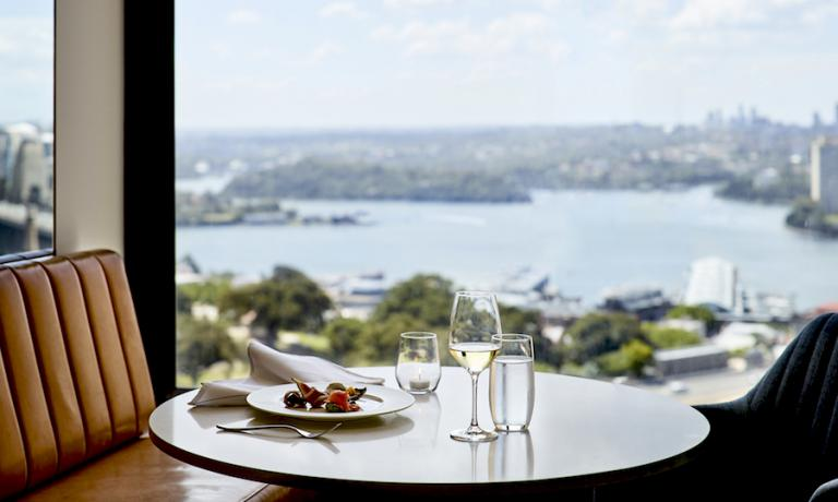 A detail of the Lounge 32 on the 32nd floor of the Four Seasons in Sydney, Australia