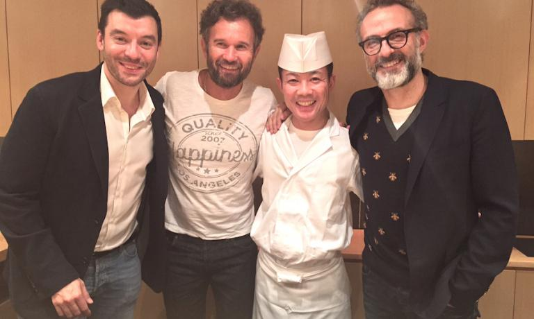 At the end of an extraordinary sushi dinner at restaurant Ootanino in Tokyo, a souvenir photo for chefs Luca Fantin (to the left), Carlo Cracco, Takayuki Otani and Massimo Bottura