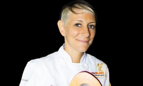 Roberta Pezzella, pastry-chef at Heinz Beck's La Pergola at Rome Cavalieri, here on the occasion of Identità Milano 2014, where she held a lesson on bread together with Federica Racinelli (photo Brambilla-Serrani)