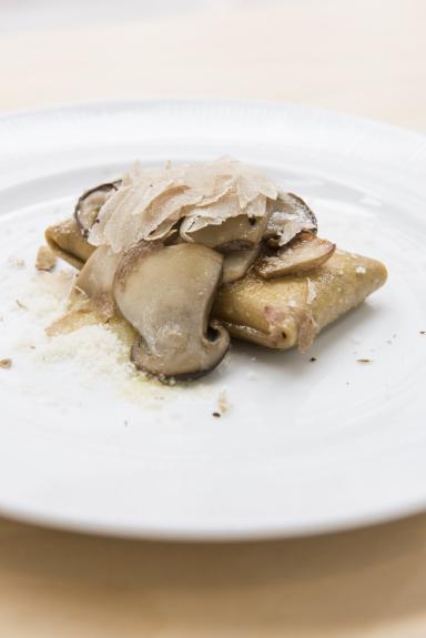 Tony Mantuano's Gluten Free Crescenza Ravioletto with Grano Padano, Porcini Mushroom Butter Sauce and White Truffle