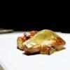 Duck foie gras escalope, orange pan brioche, granny smith gel, candied watermelon