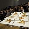 Gli assaggi della pizza di Simone Padoan serviti in Sala Auditorium