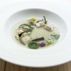 Mare by Heinz Beck: scampi claws and lyophilised potatoes regenerated with a seafood consommé
