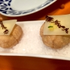 Miniairbag de queso. Miniairbag of manchego cheese mousse, hazelnut caviar and powdered hazelnut peel