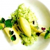 Pear, dill, cucumber granita, tarragon ice cream by Marco Ambrosino