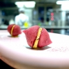 Beetroot macaroons with radicchio and Béarnaise sauce with mint