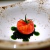 A reconstructed tomato: mousse of tomato, vegetal carbon, mousse of almonds, basil gel