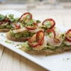 Bruschetta with avocado and grilled prawns by Giuseppe Tentori