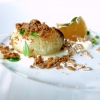 Onion, crème fraîche, chicken jus, bran, pepe arancio (that is to say leaves of Zanthoxylum beecheyanum). A great dish