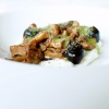 Ricotta, buttermilk, chanterelle mushrooms, cream of artichoke stalk, larch leaves and smoke