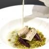 La mia Sicilia di Andrea Provenzani: Cous cous allo zafferano, ricciola, pesto al finocchietto, limone candito e pistacchi, cipolla al marsala, latte di mandorla