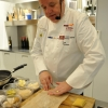 Tony Mantuano, chef of Spiaggia restaurant in Chicago, preparing his Gluten Free Crescenza Ravioletto with Grano Padano, Porcini Mushroom Butter Sauce and White Truffle